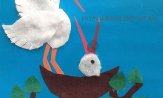 Аплікація: лелеки прилетіли для дітей 4-5 років
