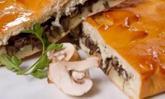 Рецепт пирога з грибами і сиром